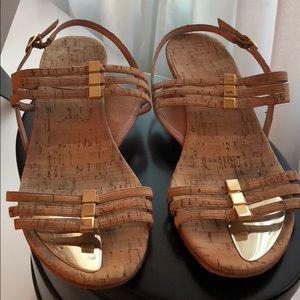 STUART WEITZMAN cork & gold sandals